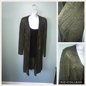 Beautiful olive green crochet long cardigan